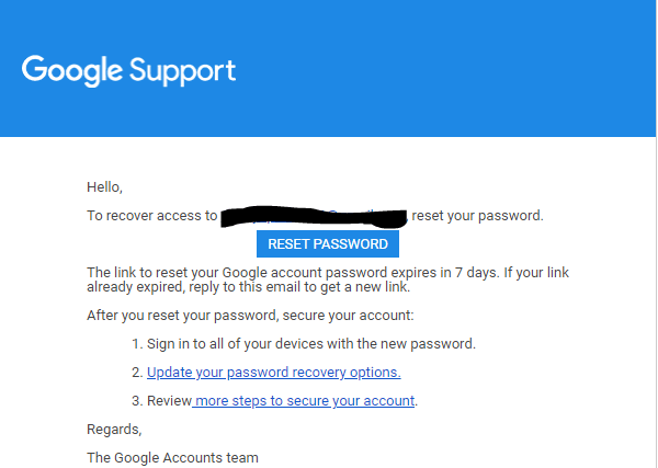 Google Support Message
